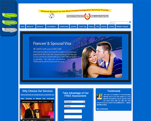 ultimate visa corporation homepage screenshot